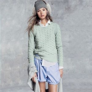 J. Crew Honeycomb Cable Sweater Mint Green Small